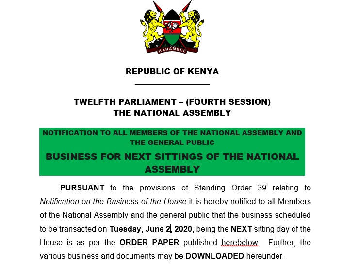 NOTIFICATION TO ALL MEMBERS OF THE NATIONAL ASSEMBLYAND THE GENERAL PUBLIC BUSINESS FOR NEXT SITTINGS OF THE NATIONAL ASSEMBLY