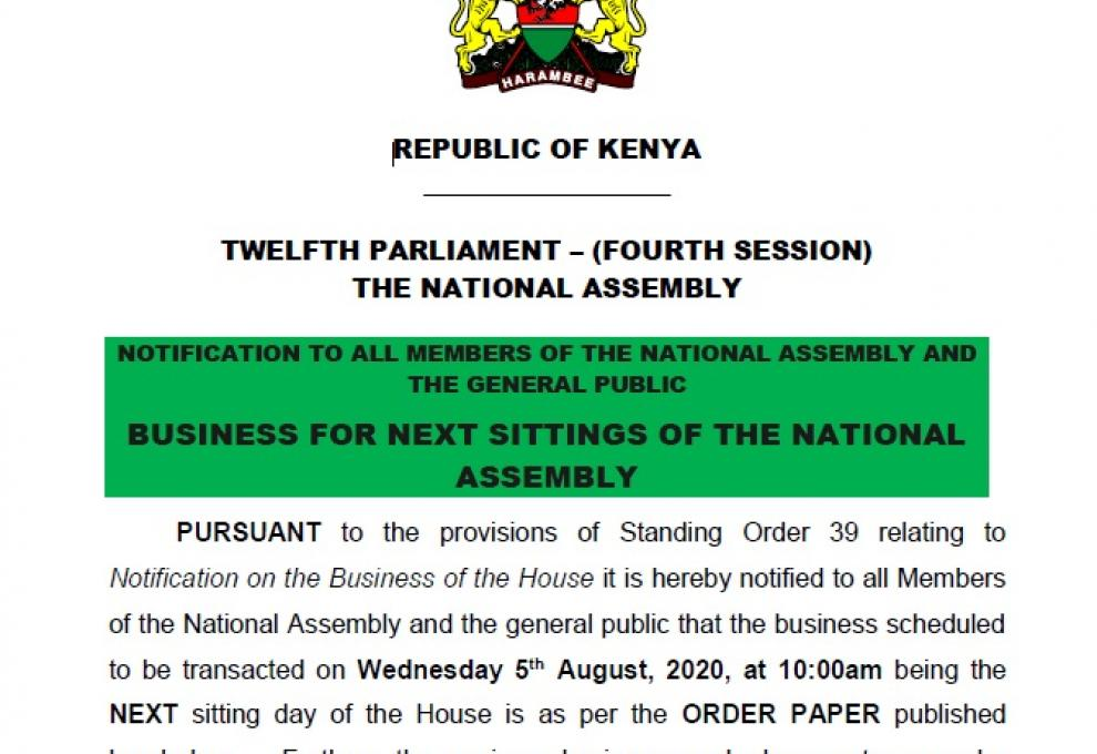 NOTIFICATION TO ALL MEMBERS OF THE NATIONAL ASSEMBLY