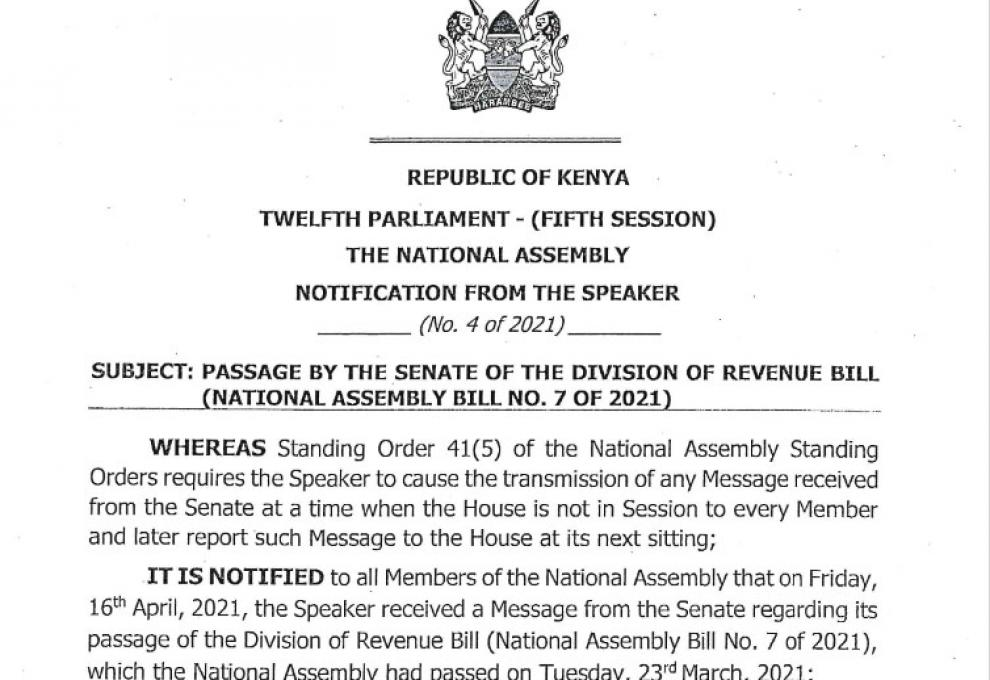 NOTIFICATION ON TWO MESSAGES FROM THE SENATE ON THE DIVISION OF REVENUE BILL, 2021 AND MUNG BEANS BILL, 2020