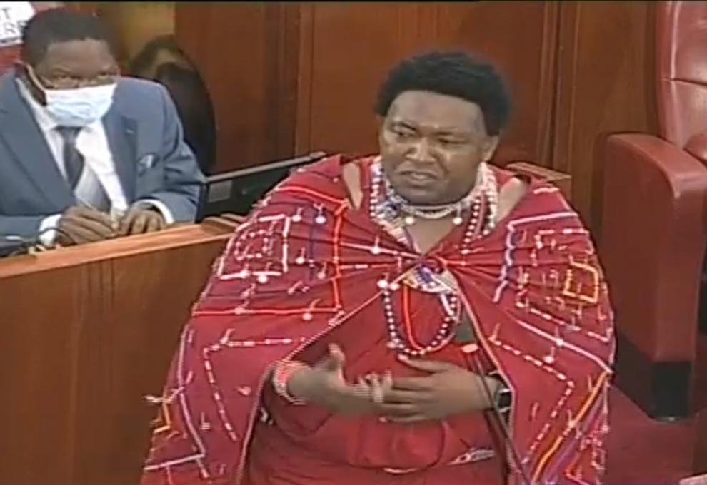 Sen Ledama Olekina on the Floor of the Senate Donning Maasai Traditional Shukas