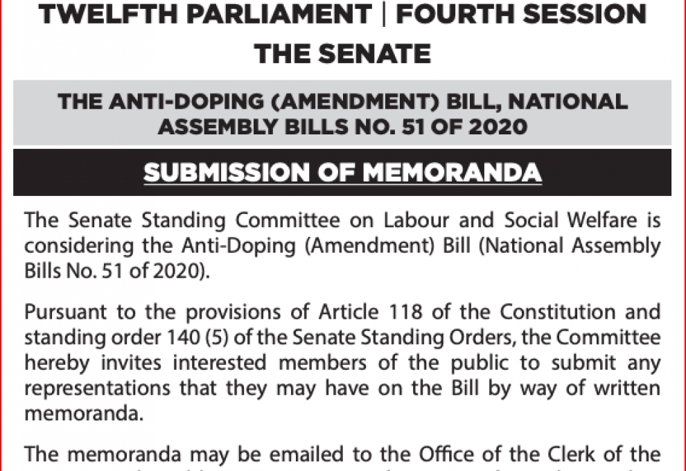 Anti-Doping (Amendment) Bill (National Assembly Bills No. 51 of 2020).