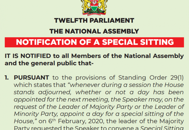 Notification of a Special Sitting of The National Assembly on Monday, February 10th, 2020