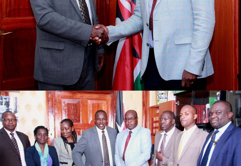 Officers from the Kenya Revenue Authoring Paying a courtesy call to the Clerk of the National Assembly