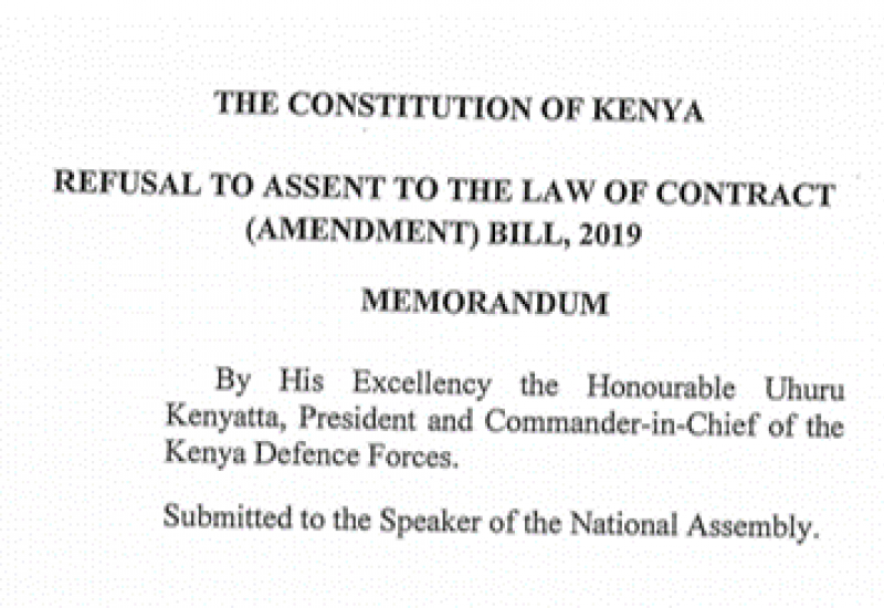 Presidential Memorandum on Law of Contract Amendment Bill, 2019