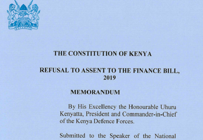 President's Reservations to the Finance Bill