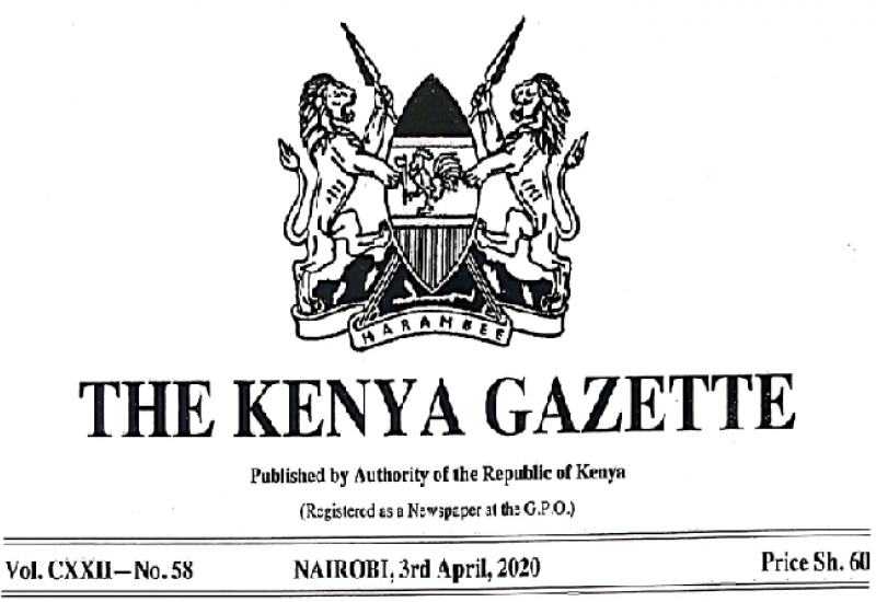 GAZETTE NOTICE FOR SPECIAL SITTING